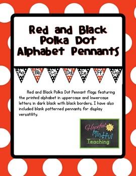 Red and Black Polka Dot  Alphabet Pennants