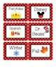 Red and Black Polka Dot Book Bin Labels