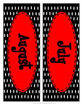 Red and Black Polka Dot Calendar