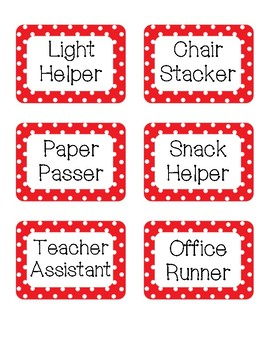 Red and Black Polka Dot Classroom Jobs