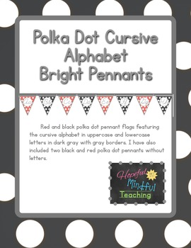 Red and Black Polka Dot Cursive Alphabet Pennants