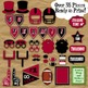 Red and Black School Colors Football Photo Booth Props and Decorations