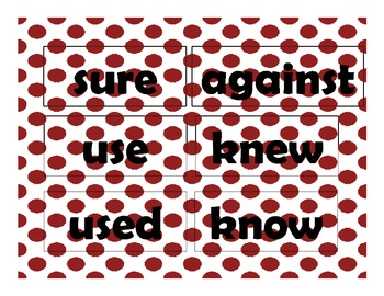 Red and Black Second Grade Sight Words