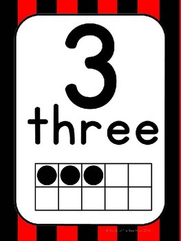 Number Cards 0-20 Red and Black Stripes & Black and White Polka Dot (Pirate)