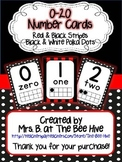 Number Cards 0-20 Red and Black Stripes & Black and White