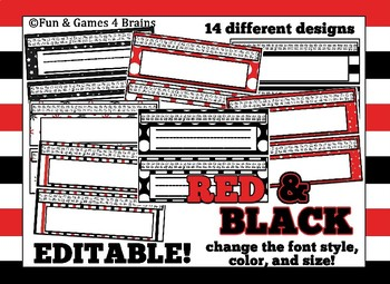 Red and Black Themed editable nameplates with alpha strips