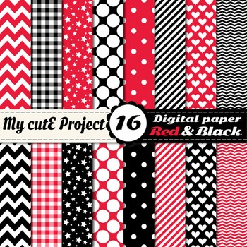 """Red and Black and red DIGITAL PAPER - Scrapbooking- A4 & 12x12"""" - Stripes, dots"""