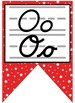 Red and Black themed cursive and print Alphabet Strip Banner