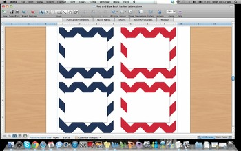 Red and Blue Book Basket Labels