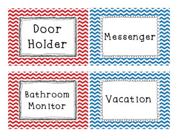 EDITABLE Red and Blue Chevron Classroom Job Labels