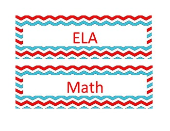 Red and Blue Chevron Subject Headers
