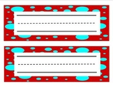 Red and Blue Dot Name Plate