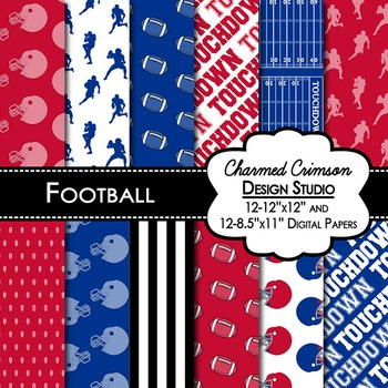 Red and Blue Football Digital Paper 1419