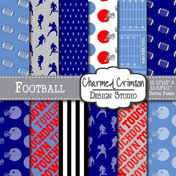 Red and Blue Football Digital Paper 1454