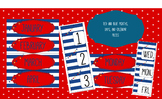 Red and Blue Months, Days, and Calendar pieces -Nautical Décor
