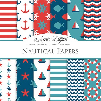Red and Blue  Nautical Digital Paper patterns - sea scrapbook backgrounds