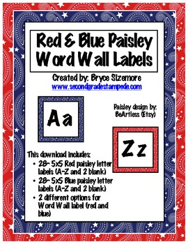 Red & Blue Paisley Word Wall Letters/Labels