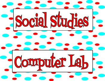 Red and Blue Polka Dot Subject Labels