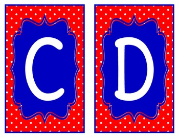 Red and Blue Polka Dot Word Wall Alphabet
