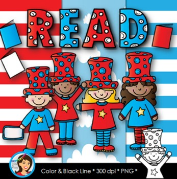 Red and Blue Reading Kids Clip Art