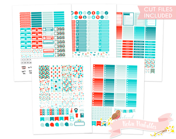 Red and Blue Sewing Printable Planner Weekly kit Stickers fits Erin Condren