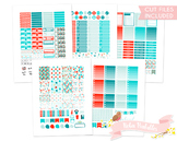 Red and Blue Sewing Printable Planner Weekly kit Stickers