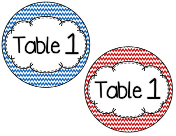Red and Blue Table Numbers *Two Sizes*