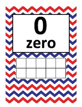 Ten Frame Number posters Red and Blue Dr. Seuss Theme 0-20