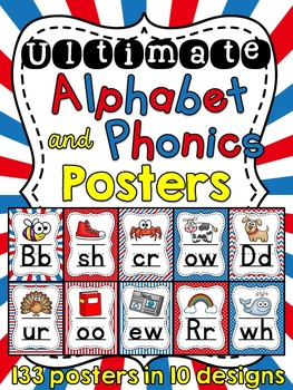 Red and Blue Theme Alphabet Posters and Phonics Posters Bundle