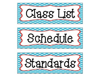 Class Info and Focus Board Headings: Red and Blue Themed