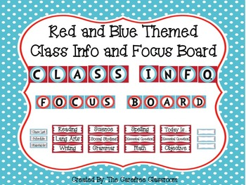 Red and Blue Themed Class Info and Focus Board Headings
