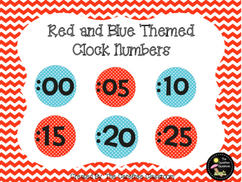 Clock Numbers: Red and Blue Themed