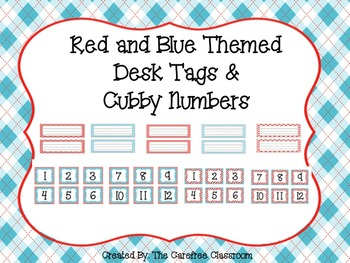 Red and Blue Themed Desk Tags and Calendar Numbers