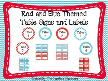 Red and Blue Themed Table Signs and Labels