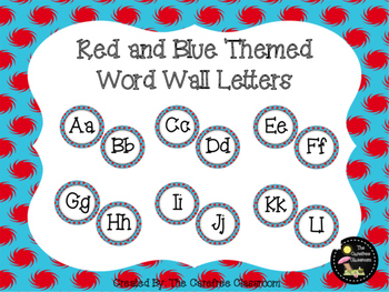 Word Wall Letters: Red and Blue Themed