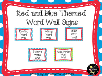 Red and Blue Themed Word Wall Signs