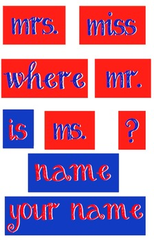 Red and Blue - WORDS for your Where is the counselor sign