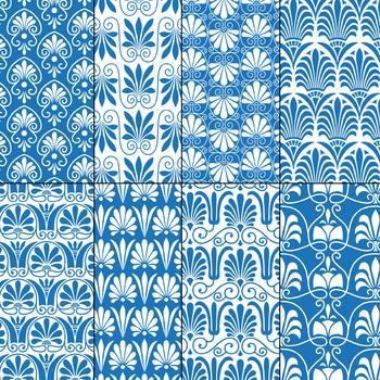 Blue and White Greek Ornamental Patterns