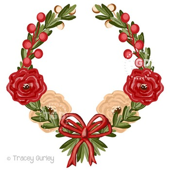 Red and Cream flowers Wreath clip art, Printable Tracey Gurley Designs