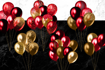 Red and Gold Balloons Clipart
