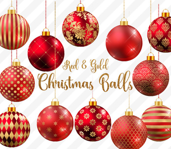 Red and Gold Christmas Balls, Baubles, Ornaments Clipart Graphics