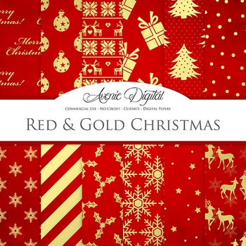 Red and Gold Christmas Digital Paper
