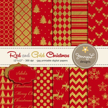 Red and Gold Christmas Digital Paper, Holiday Paper