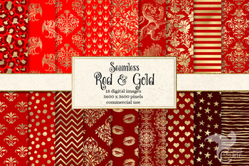 Red and Gold Digital Paper, seamless gold foil pattern backgrounds