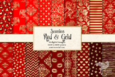 Red and Gold Digital Paper, seamless gold foil pattern bac