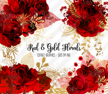 Red and Gold Floral Clipart, gold glitter roses bouquet clip art