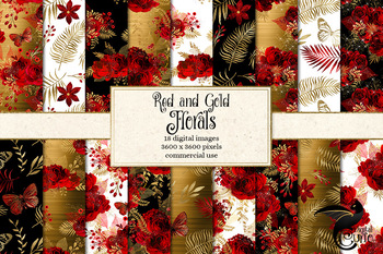 Red and Gold Floral Digital Paper, printable backgrounds