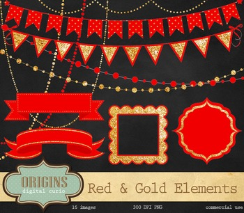 Red and Gold Glitter Bunting Banner Party Clipart