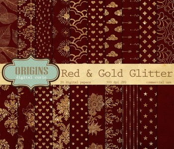 Red and Gold Glitter Digital Paper