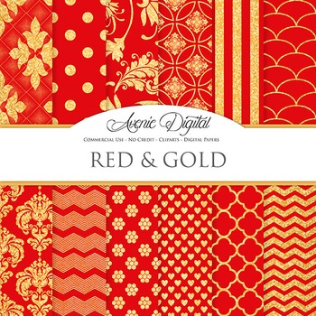 Red and Gold Glitter Digital Paper sparkle pattern scrapbook background